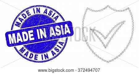 Web Mesh Valid Shield Pictogram And Made In Asia Stamp. Blue Vector Round Distress Stamp With Made I