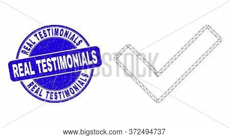 Web Mesh Validated Tick Icon And Real Testimonials Seal Stamp. Blue Vector Rounded Textured Stamp Wi