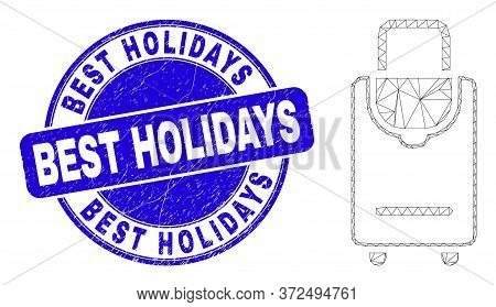 Web Carcass Voyage Luggage Pictogram And Best Holidays Seal Stamp. Blue Vector Round Grunge Seal Sta