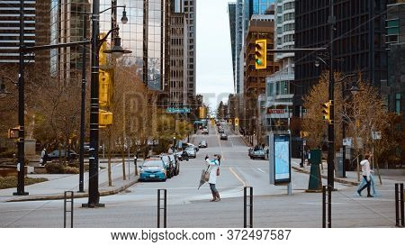 Beautiful Street View In Vancouver - City Of Vancouver, Canada - April 11, 2017