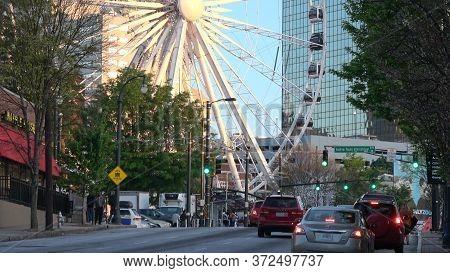 Atlanta Olympic Park Area With Atlanta Skyview Ferris Wheel - Atlanta, Georgia - April 22, 2016