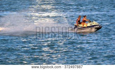 People Having Fun With A Thrilling Jetski Ride - Miami, Florida April 10, 2016