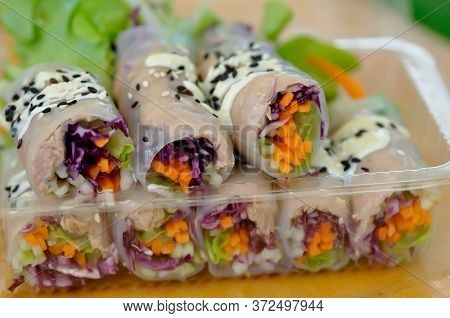 Rice Roll, Fresh Roll Or Vegetable Roll