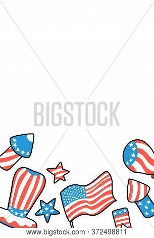 Usa Independence Day Postcard. American Flag Hat Vertical Card With Text Place. 4 July Greeting Card