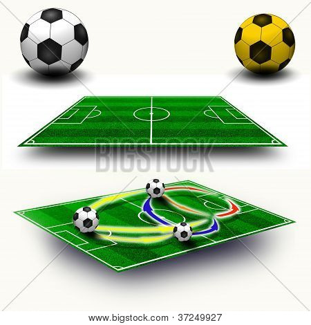 Collage. Soccer Field Tactic Table, Map On Perspective Geometry, Soccer Balls
