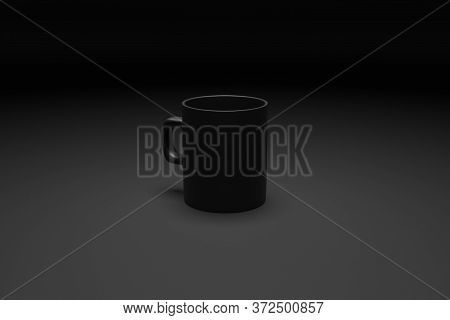 3d Rendering. Сlose-up Of The Medium Sized Black Tea And Coffee Mug On Black Isolated Background. Re