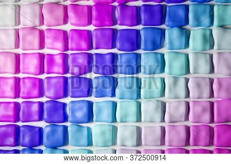 3d Illustration Of Rows Of Multi-colored Chewing Gum In Gradient Colors.set Of Chewing Gum On White