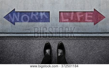 Work Life Balance Concept. An Undecided Businessman Standing In Front Of The Left And Right Arrow Di