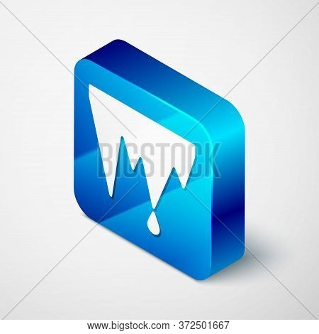 Isometric Icicle Icon Isolated On Grey Background. Stalactite, Ice Spikes. Winter Weather, Snow Crys