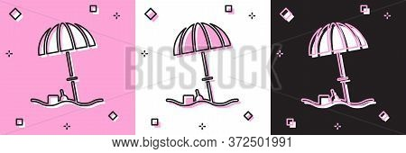 Set Sun Protective Umbrella For Beach Icon Isolated On Pink And White, Black Background. Large Paras