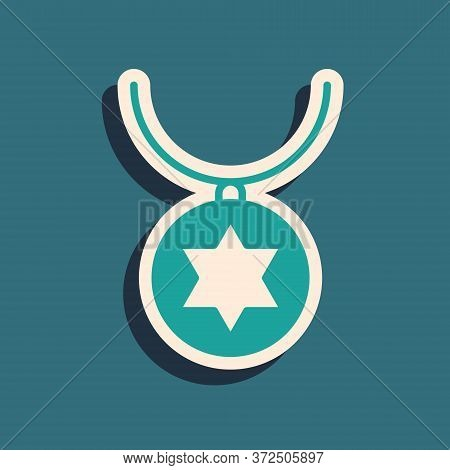 Green Star Of David Necklace On Chain Icon Isolated On Green Background. Jewish Religion. Symbol Of