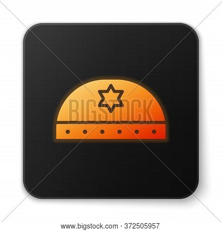 Orange Glowing Neon Jewish Kippah With Star Of David Icon Isolated On White Background. Jewish Yarmu