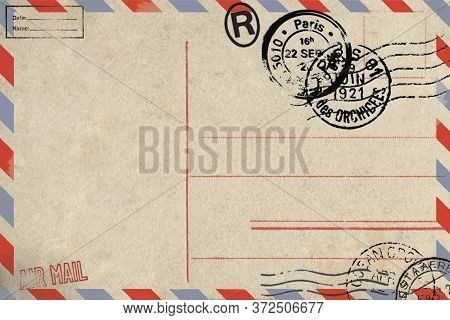 Backside Of Blank Airmail Postcard With Dirty Stain