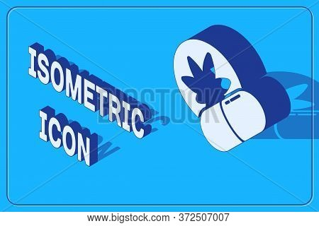 Isometric Herbal Ecstasy Tablets Icon Isolated On Blue Background. Vector Illustration
