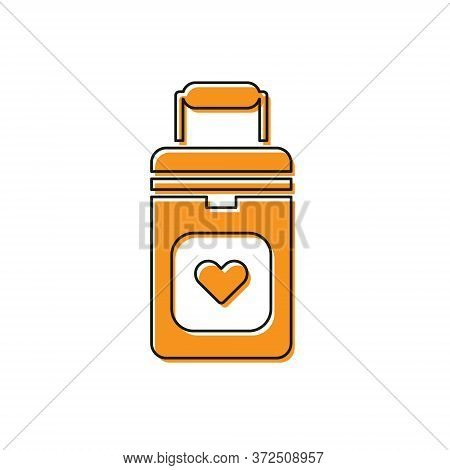 Orange Cooler Box For Human Organs Transportation Icon Isolated On White Background. Organ Transplan