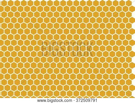 Honey-filled Bee Honeycombs. Vector Background. Bees Collected Honey From Different Colors, Many Sha