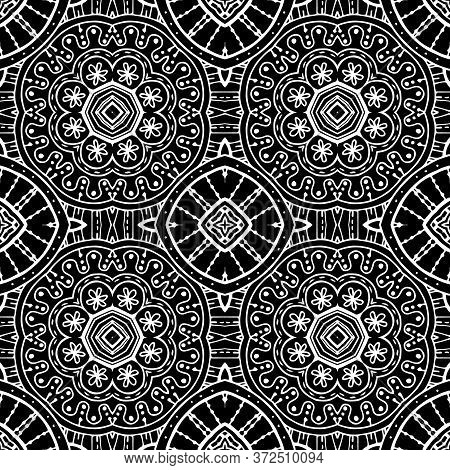 Floral Lines Vector Seamless Pattern. Ornamental Ethnic Tribal Style Lace Background. Doodle Line Ar