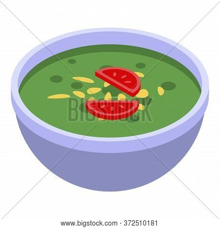 Green Indian Soup Icon. Isometric Of Green Indian Soup Vector Icon For Web Design Isolated On White