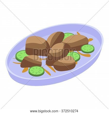 Mussels Dishes Icon. Isometric Of Mussels Dishes Vector Icon For Web Design Isolated On White Backgr