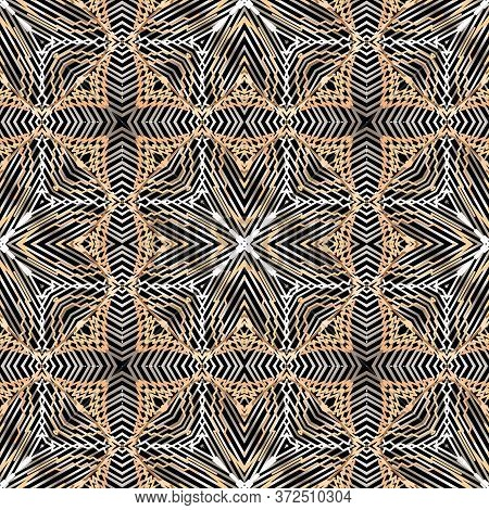 Grunge Textured Lines Vector Seamless Pattern. Geometric Tapestry Background. Repeat Embroidery Styl