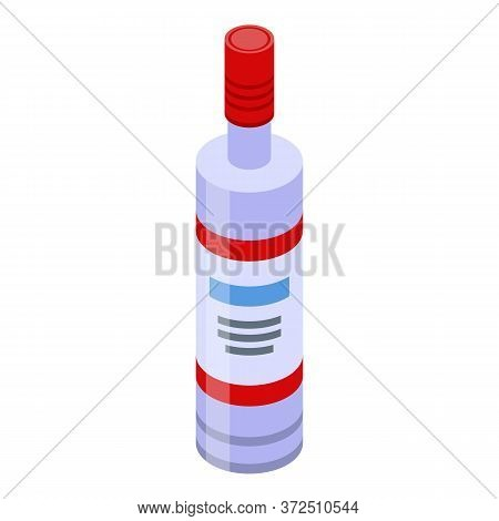 Russian Vodka Bottle Icon. Isometric Of Russian Vodka Bottle Vector Icon For Web Design Isolated On