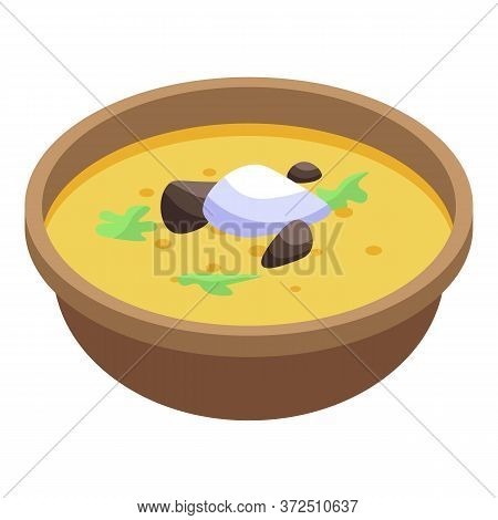 Mussel Russian Soup Icon. Isometric Of Mussel Russian Soup Vector Icon For Web Design Isolated On Wh