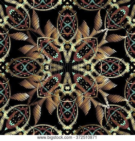 Embroidery Baroque 3d Vector Seamless Pattern. Colorful Floral Grunge Background. Tapestry Wallpaper