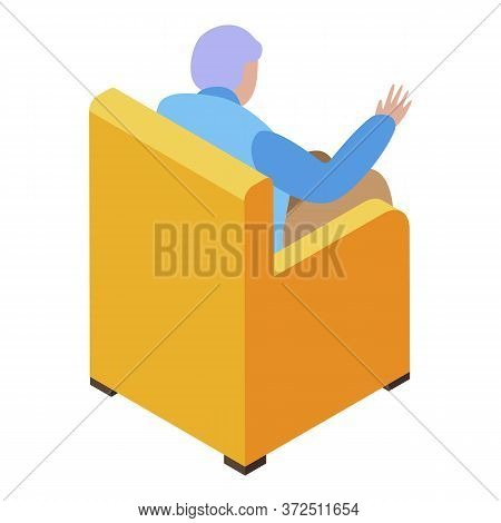Grandfather Resting In Armchair Icon. Isometric Of Grandfather Resting In Armchair Vector Icon For W