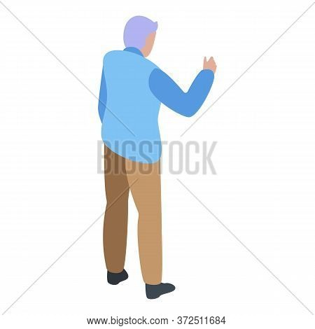 Grandfather Talking Icon. Isometric Of Grandfather Talking Vector Icon For Web Design Isolated On Wh