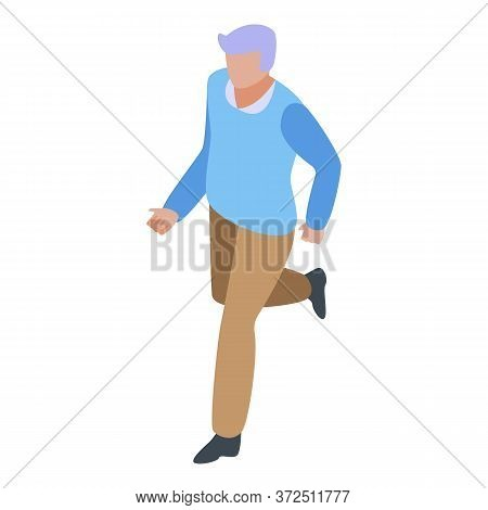 Running Grandfather Icon. Isometric Of Running Grandfather Vector Icon For Web Design Isolated On Wh