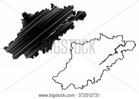 Hangzhou City (people's Republic Of China, Zhejiang Province) Map Vector Illustration, Scribble Sket