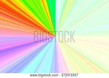 Converging Lines - Colorful Radiations - Bright Rainbow Spectrum Of Colors Radial Converging Lines B