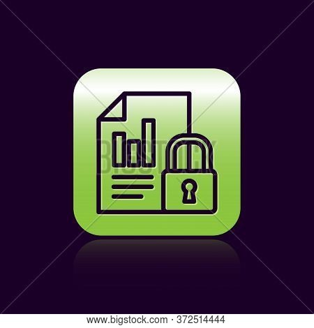 Black Line Document And Lock Icon Isolated On Black Background. File Format And Padlock. Security, S