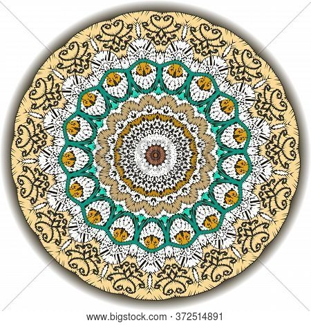 Tapestry Ethnic Colorful Vector Mandala Pattern. Ornamental Textured Background. Tribal Patterned Gr