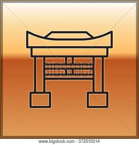 Black Line Japan Gate Icon Isolated On Gold Background. Torii Gate Sign. Japanese Traditional Classi
