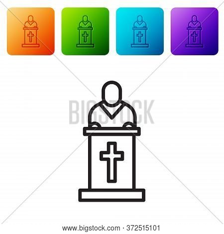 Black Line Church Pastor Preaching Icon Isolated On White Background. Set Icons In Color Square Butt