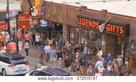 The Famous Broadway In Nashville With All The Bars And Saloons - Nashville, Usa - June 17, 2019