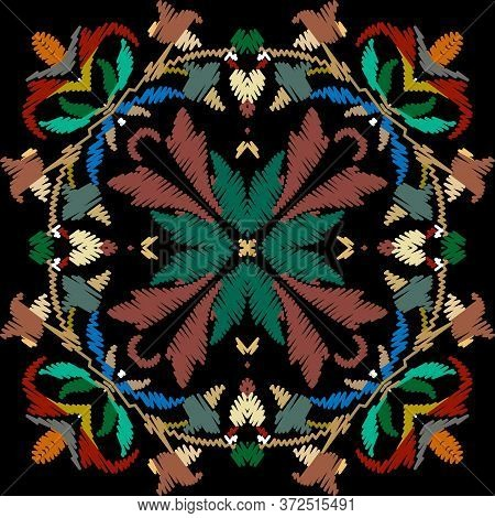 Embroidery Baroque Vector Seamless Pattern. Colorful Floral Grunge Background. Tapestry Wallpaper. A