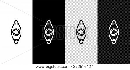 Set Line Kayak And Paddle Icon Isolated On Black And White Background. Kayak And Canoe For Fishing A