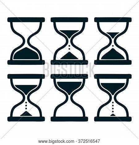 Sand Glass Clock Icons Set. Vector Icon Set