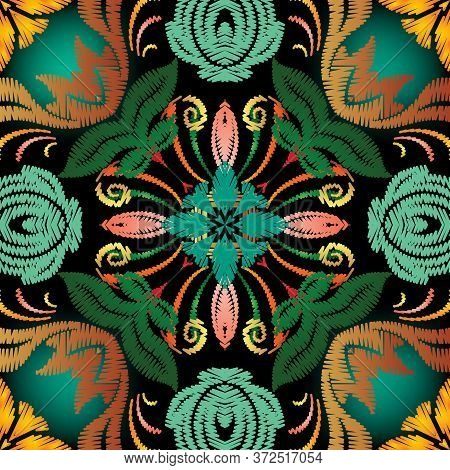 Embroidery Baroque Style Vector Seamless Pattern. Colorful Floral Glowing Background. Tapestry Wallp