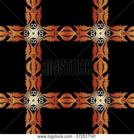 Textured Tapestry Floral Plaid Seamless Pattern. Vector Ornamental Tartan Background. Embroidery Bor