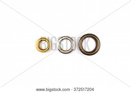 Three Brass Multicoloured Metal Eyelets Or Rivets - Curtains Rings For Fastening Fabric To The Corni