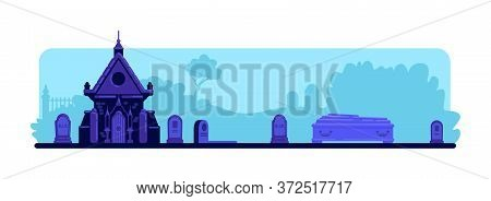 Cemetery Flat Color Vector Illustration. Tombstones And Old Crypt Building. Coffin For Burial Ceremo