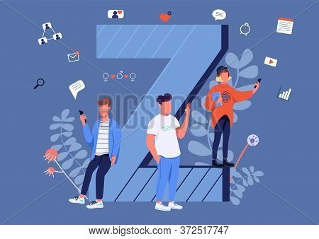 Gen Z Communication Flat Concept Vector Illustration. Young People With Smartphones 2d Cartoon Chara