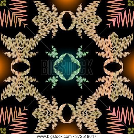 Tapestry Colorful Striped Seamless Pattern. Embroidery Ornamental Vector Background. Ethnic Grunge Z