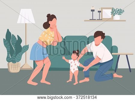 Family Happy Moments Flat Color Vector Illustration. Childcare And Parenthood. Baby Learning To Walk