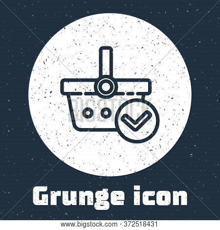 Grunge Line Shopping Basket With Check Mark Icon Isolated On Grey Background. Supermarket Basket Wit