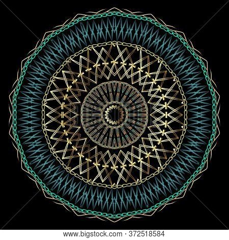 Embroidery Style Vector Mandala Pattern. Stitching Textured Ornamental Background. Tapestry Zigzag O