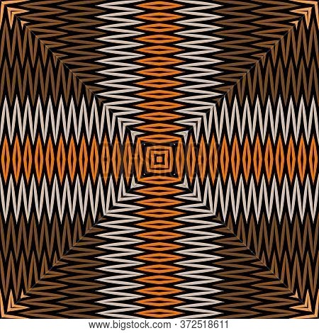 Chevron Embroidery Tartan Vector Seamless Pattern. Zigzag Stitching Textured Tribal Ethnic Backgroun